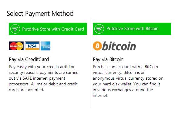 Putdrive payment options: credit cards and bitcoin