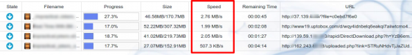 Screenshot of download speeds for Cocoleech link generator