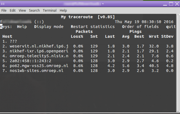 Traceroute ping speed from regional server