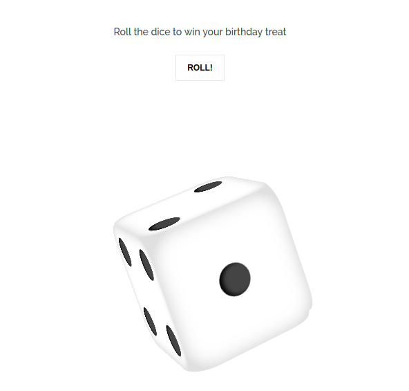 Dice roll screenshot for LinkSnappy Elite Birthday Lottery