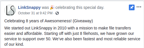 Official LinkSnappy Facebook Status on Birthday Giveaway
