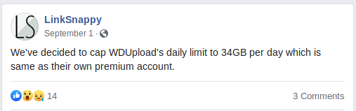screenshot from LinkSnappy Facebook on WDupload limit announcement